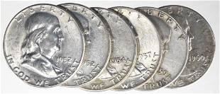 Franklin Half Dollars (6)