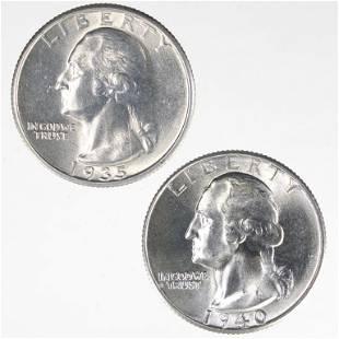 1935 & 1940 Washington Quarters (Higher Grade)