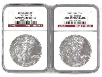 2006 Silver Eagles - NGC First Strikes Gem UNC (2)
