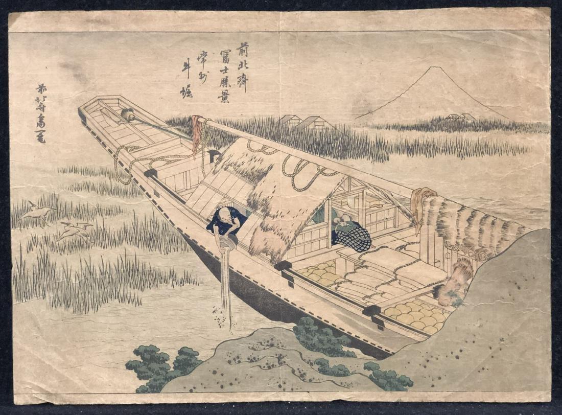 Hokusai original polychrome woodblock print, ca.1850.