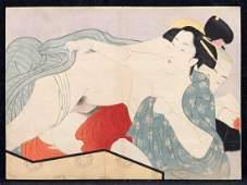 Utamaro original woodblock shunga print, ca.1880