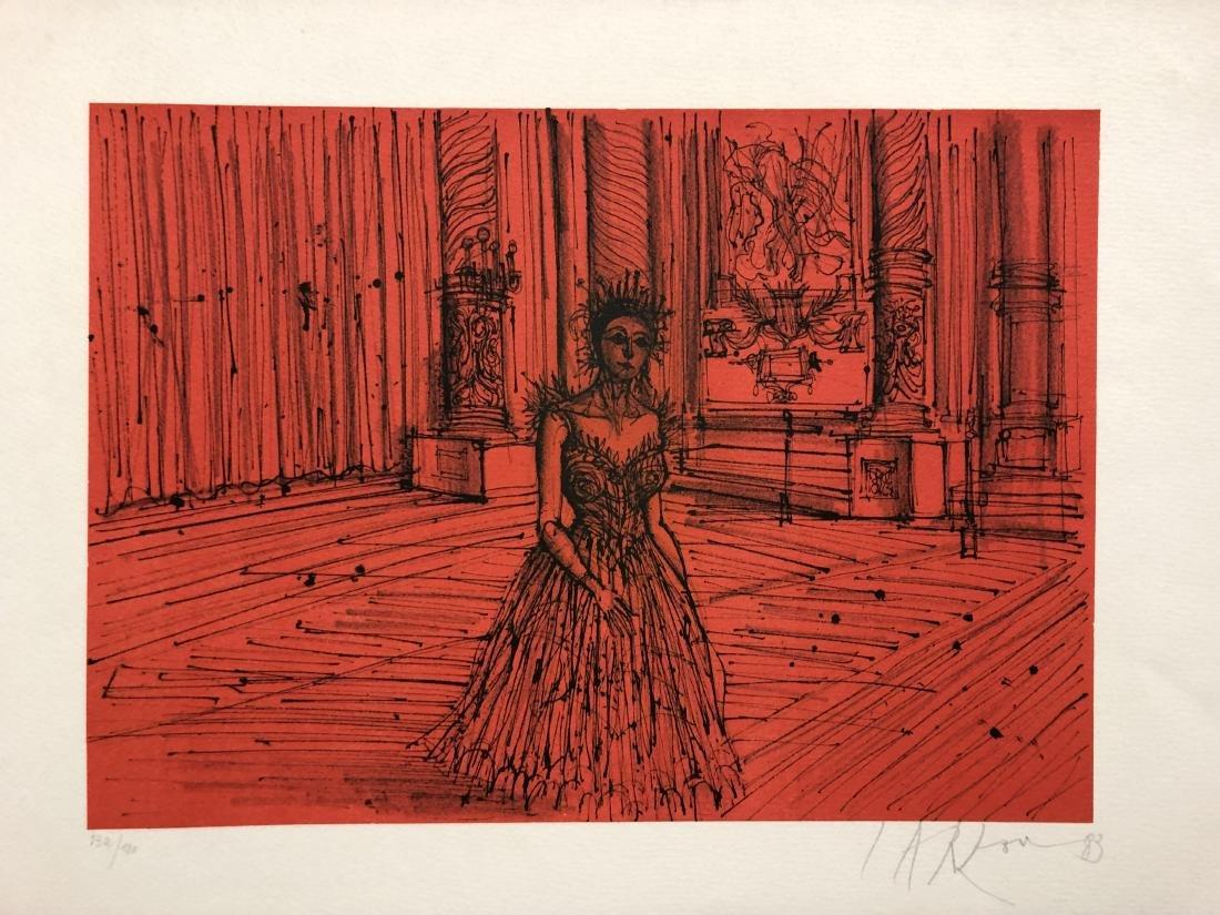 Jean Carzou original pencil signed lithograph, 1983