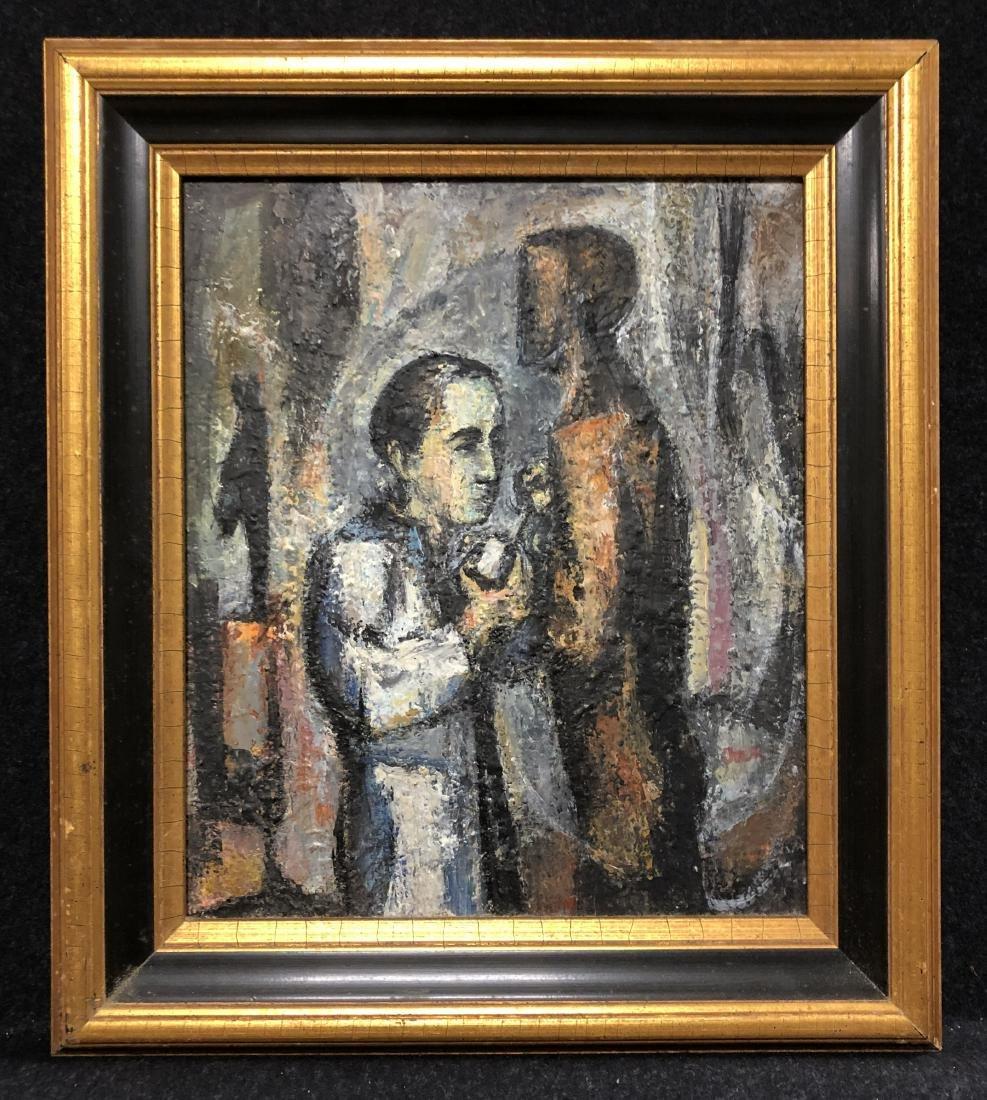 Mervin Jules, oil on canvas, Leonard Baskin Scupting,