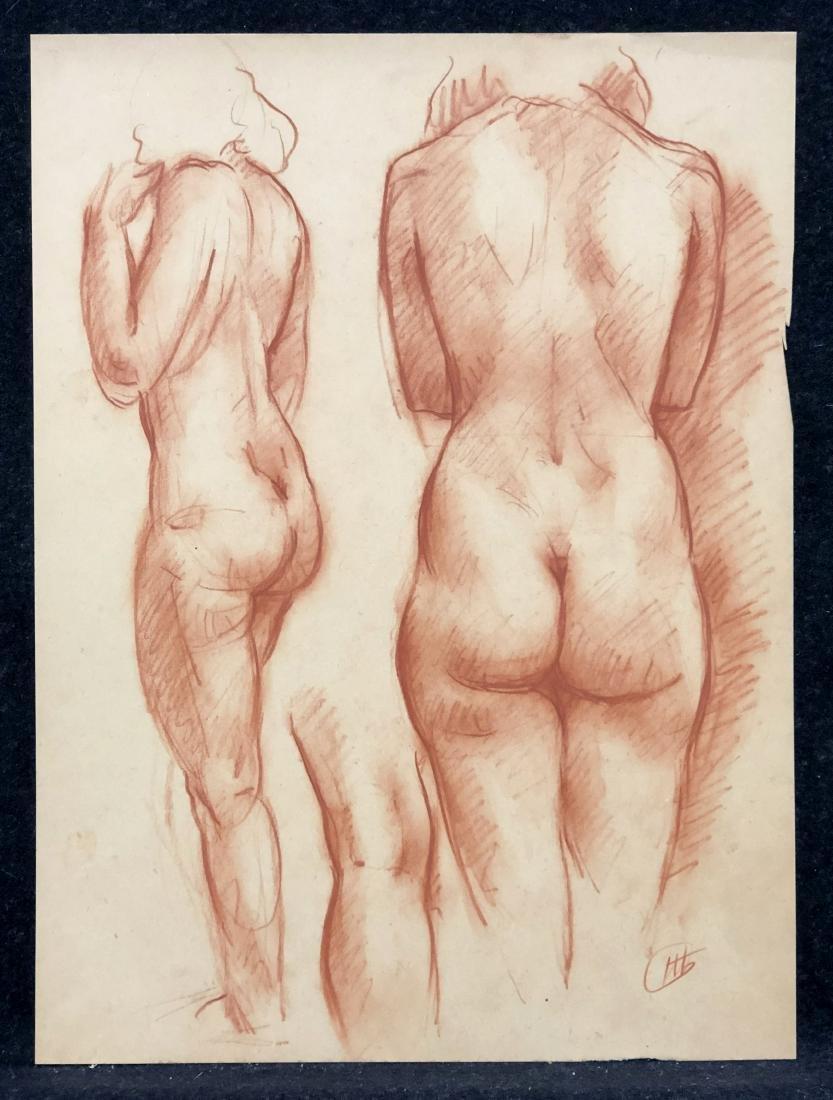 Red chalk nude study, ca. 1920