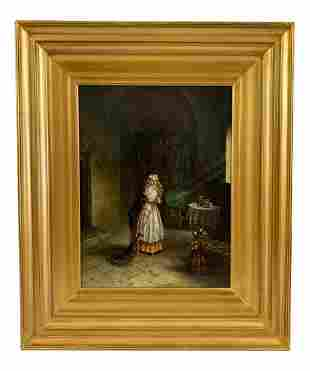 Antique Signed Old Master Style Painting on Canvas