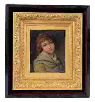 Pierre Sagnac Antique French Oil Portrait Painting
