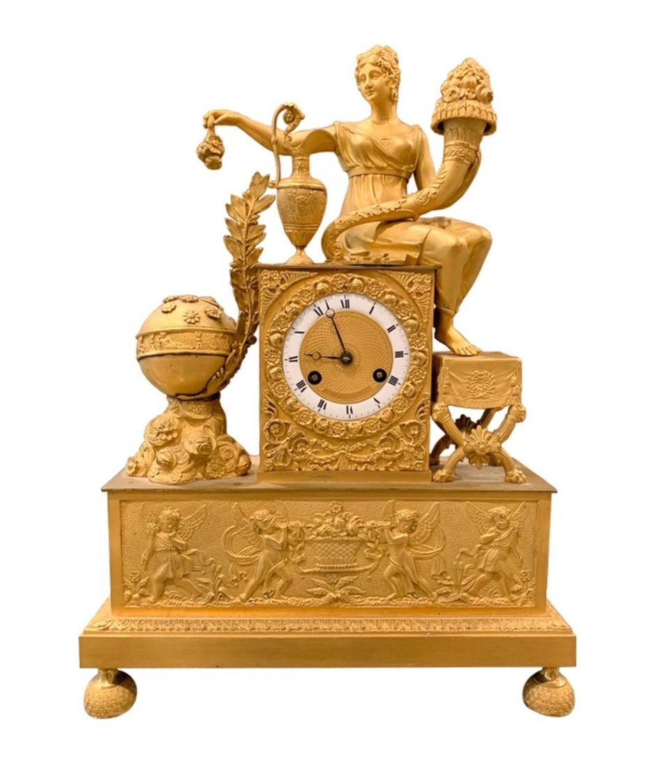 Antique 19th C. French Gilt Bronze Mantle Clock