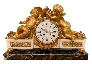 Antique Julien Le Roy Paris French Cherub Clock