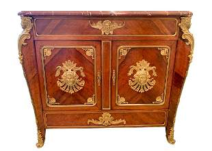 Antique French Ormolu Bronze Marble Top Commode