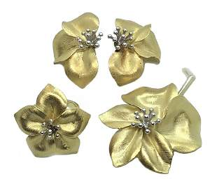 Italian 18K Gold & Diamond Floral Jewelry Suite