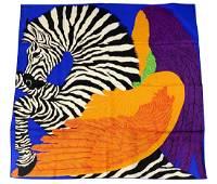 """Hermes Paris """"Zebra Pegasus"""" Silk Scarf New In Box"""