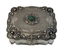 Antique European 800 Silver Gem Inlaid Jewelry Box