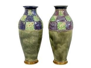 Pair of Antique Royal Doulton Majolica Bud Vases