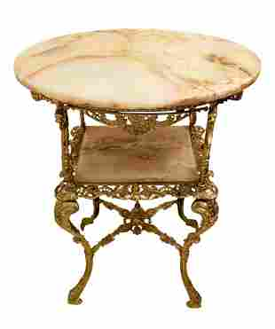French Empire Bronze Marble Two Tier Table
