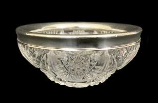 Antique English Cut Crystal Sterling Rimmed Bowl