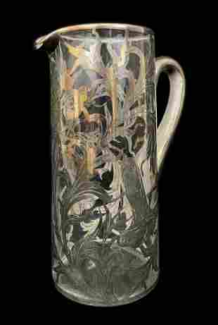 Art Nouveau Silver Overlay Crystal Water Pitcher