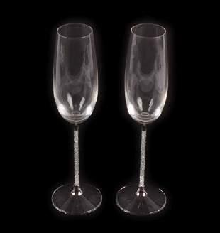 "Pair of Swarovski ""Crystalline"" Champagne Flutes"