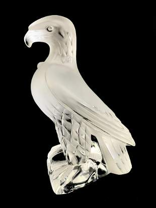"""Lalique """"Liberty"""" Eagle French Crystal Sculpture"""