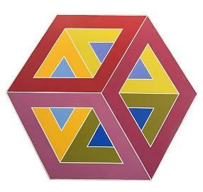 Al Loving Untitled Acrylic Cube Painting on Canvas