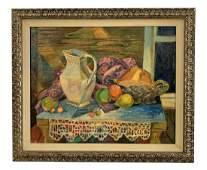 Jankel Adler Still Life Picnic Table Oil Painting