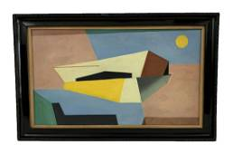 "Attrib. Charles Shaw ""Atomic Flight"" Oil Painting"