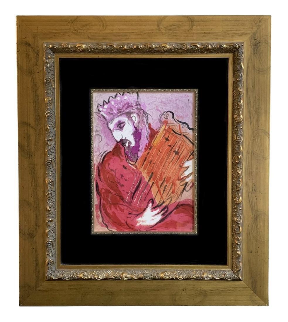 "Marc Chagall ""David & His Harp"" Colored Lithograph"