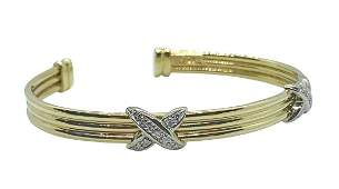Tiffany & Co Style 18K Gold Diamond Cuff Bracelet