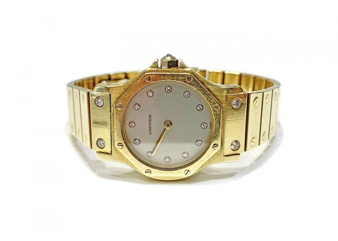 Cartier Santos Octagonal 18K Gold Diamond Watch