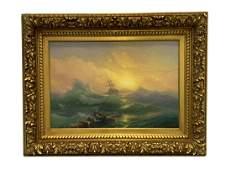 Attrib Ivan Aivazovsky Seascape Oil Painting
