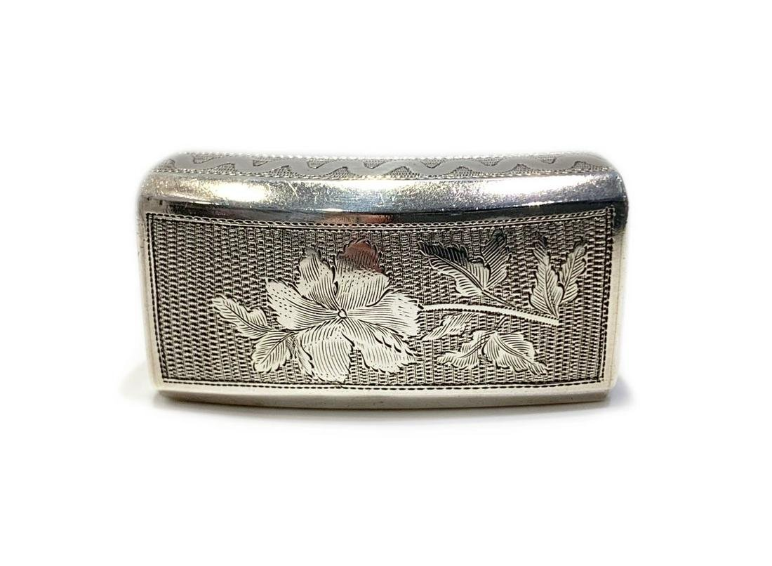 Antique English Sterling Silver Floral Pill Box