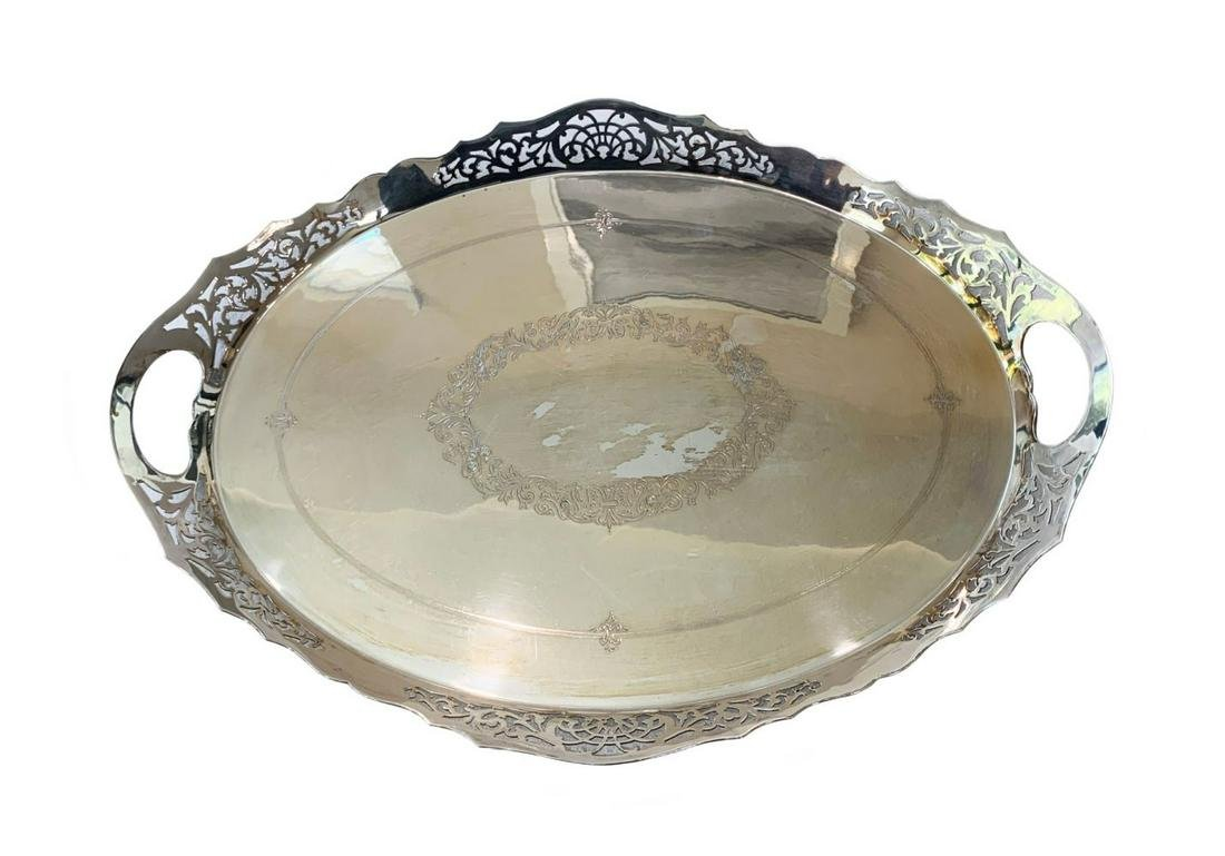 English Silver Plated Art Deco Serving Tray