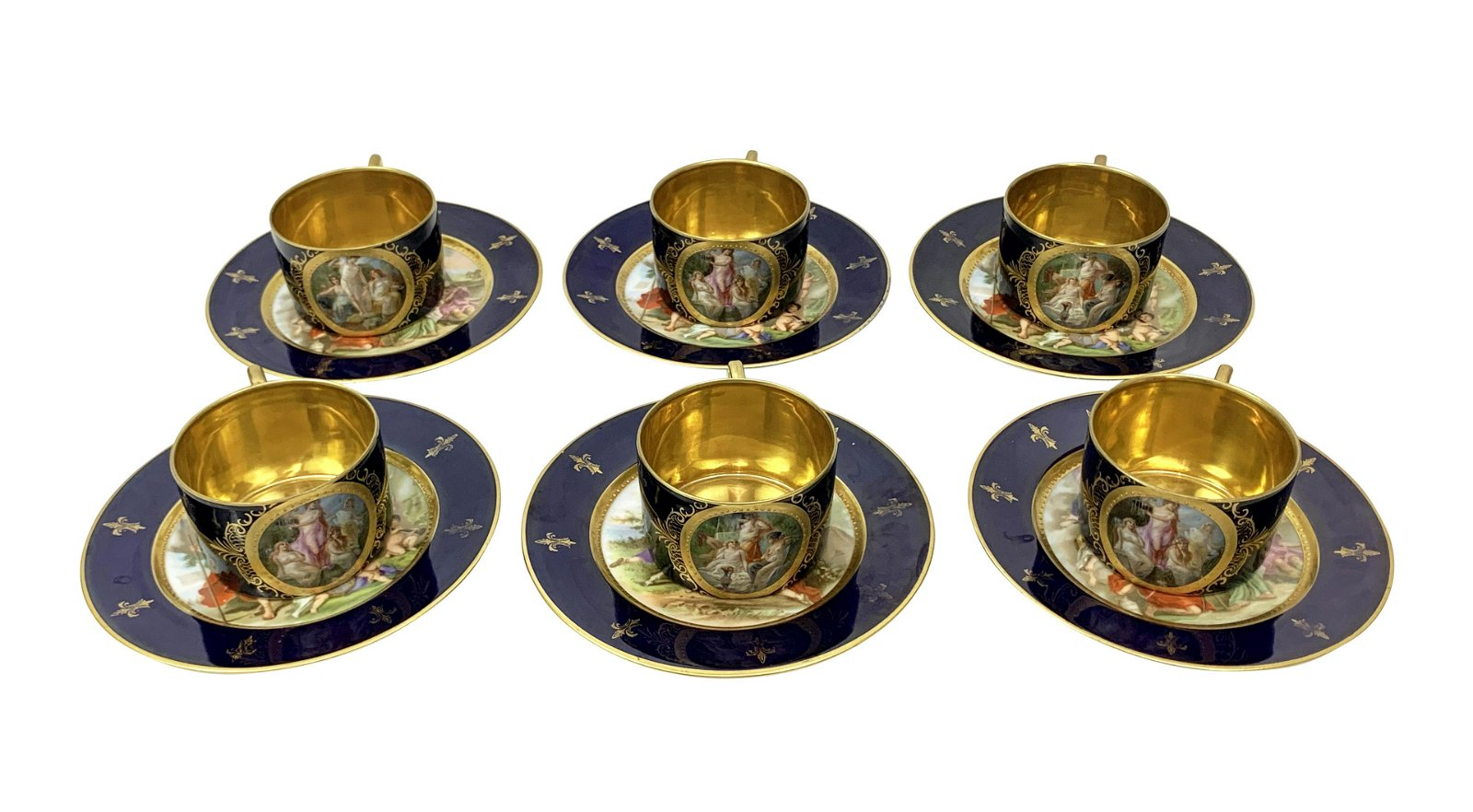 Svc For Six Royal Vienna Cobalt Teacups & Saucers