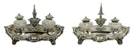 Antique Walker & Hall Sterling Crystal inkwells