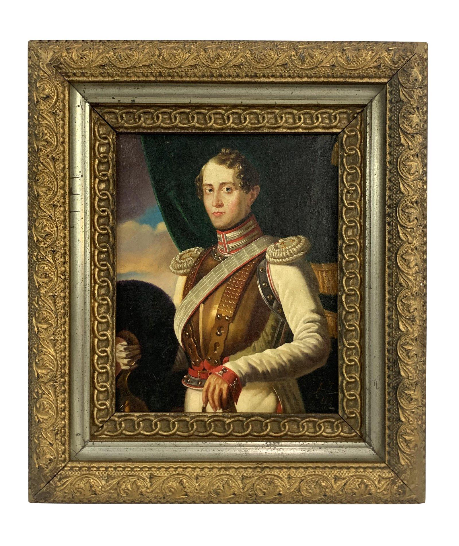 Antique Russian Officer Arapov Portrait Painting