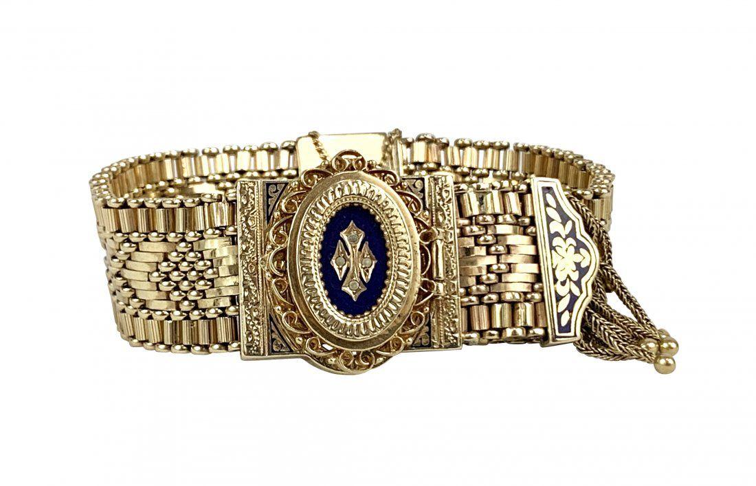 Vintage Saldory 14K Gold Enamel Swiss Watch