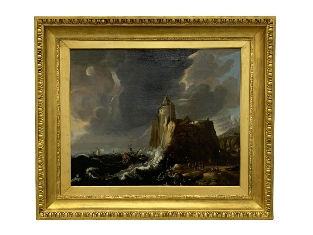 Antique Old Master Seascape Oil Painting on Canvas