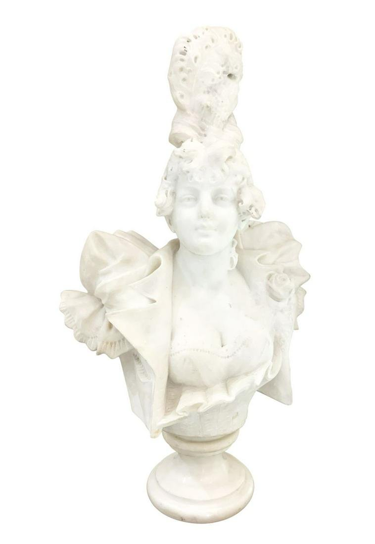 Antique Italian Marble Flapper Girl Bust Sculpture