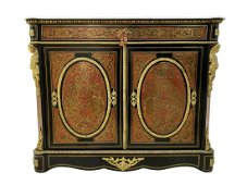 Antique French Empire Marble Bronze Boule Cabinet