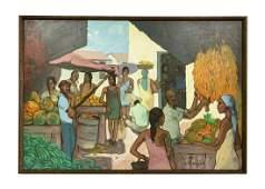 Plutarco Andujar Dominican Market Scene Painting