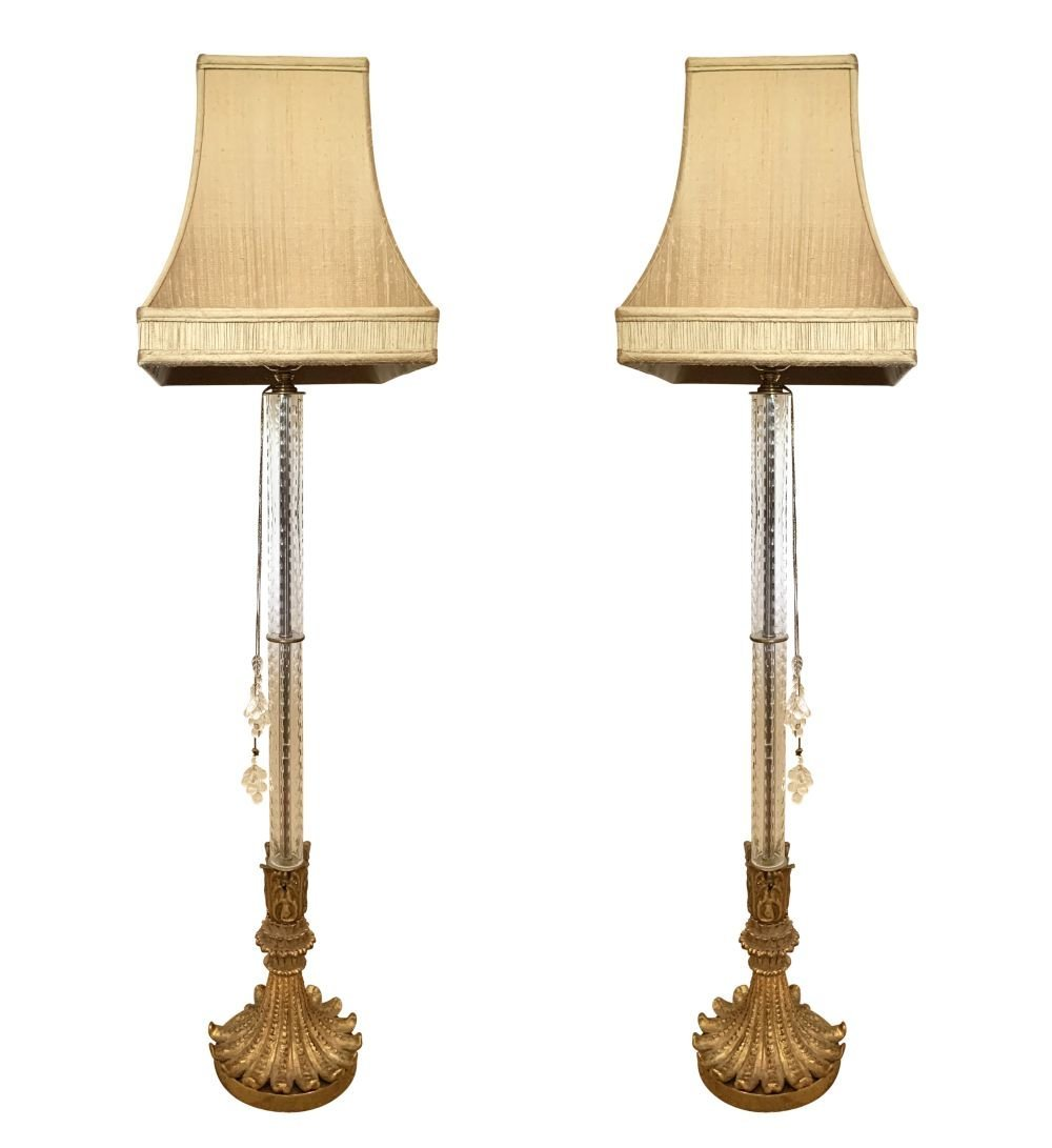 Pair of Decorative Gilt Crystal Floor Lamps