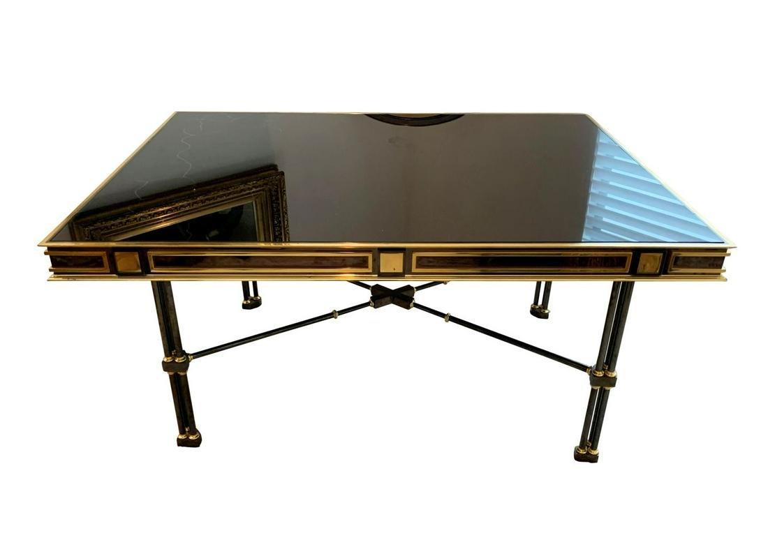 Vintage Black Glass Gold Gilt Secretary Desk