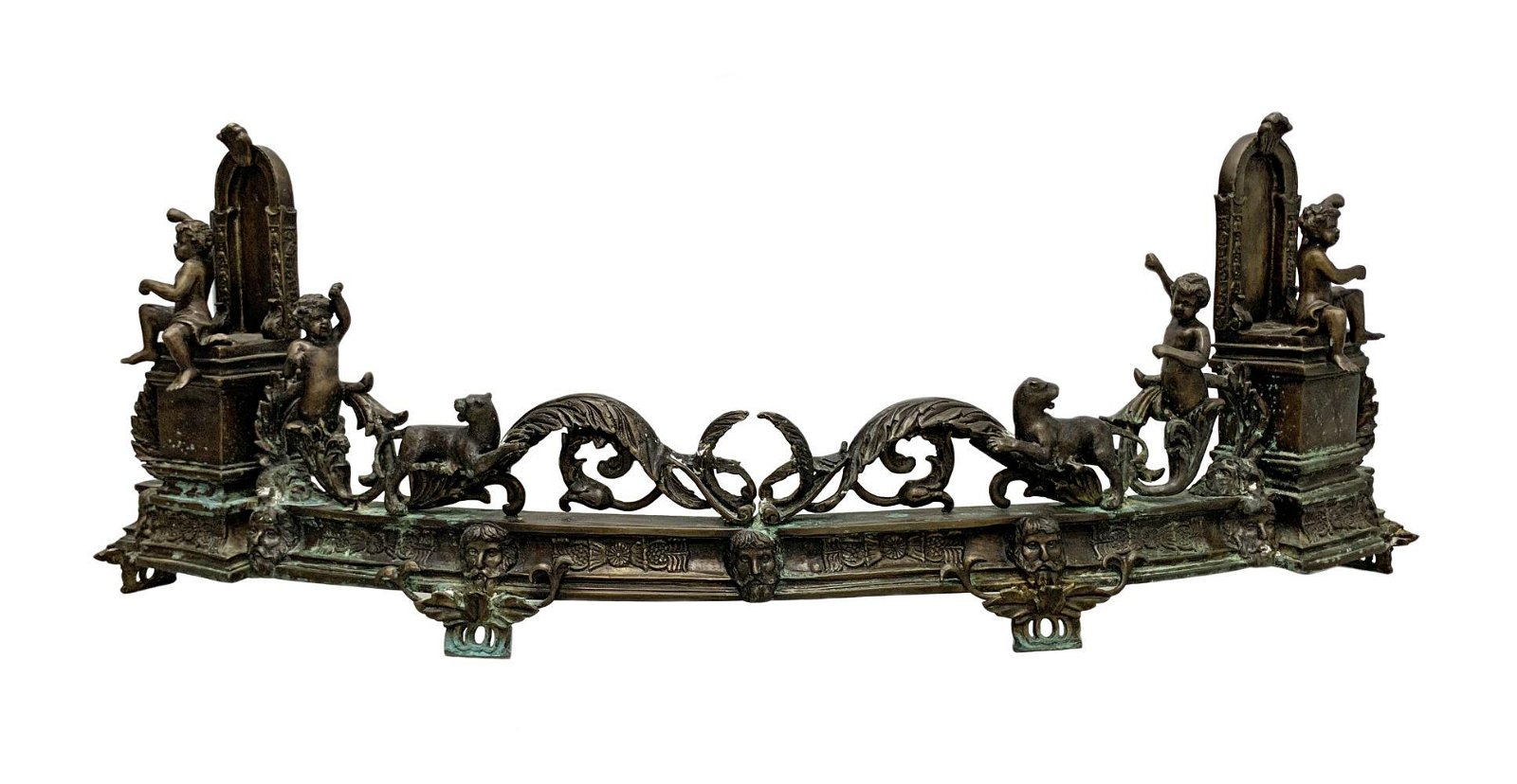 Antique French Bronze Figural Fireplace Mantle