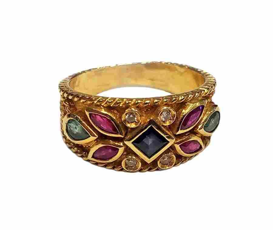 Victorian 18K Multi Gemstone Ladies Ring