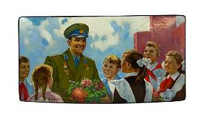 Antique Russian Social Realism Lacquer Box
