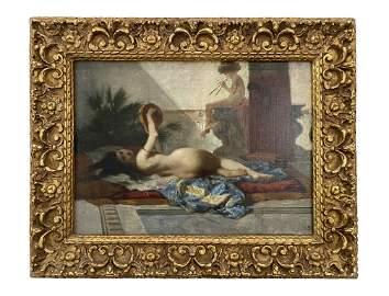 """G. Simonetti """"The Harem Girl"""" 19th C. Oil Painting"""