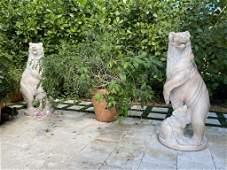 Pair of Rose Marble Bear & Cub Garden Sculptures