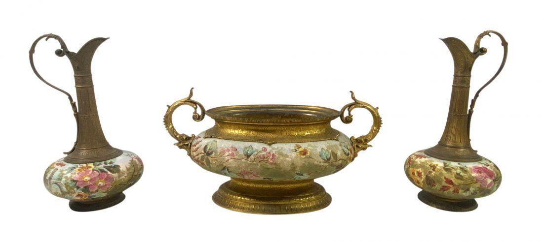 Antique 19th C. 3pc French Bronze Garniture Set