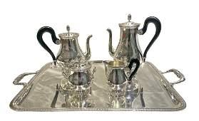5pc Christofle French Silver Tea Set