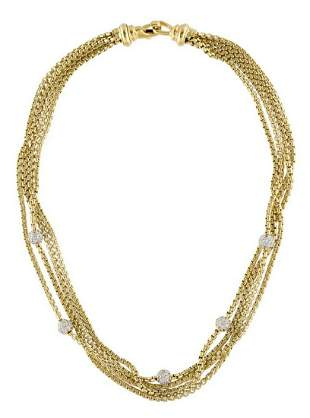 David Yurman 18K Gold & 1.65ct Diamond Necklace
