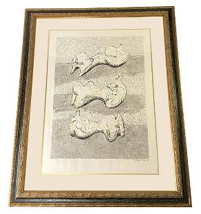 Henry Moore Pencil Signed Module Aquatint on Paper
